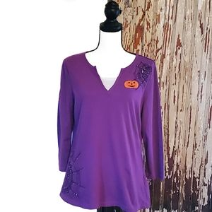 Holiday Editions V-neck Top Purple Print Size M